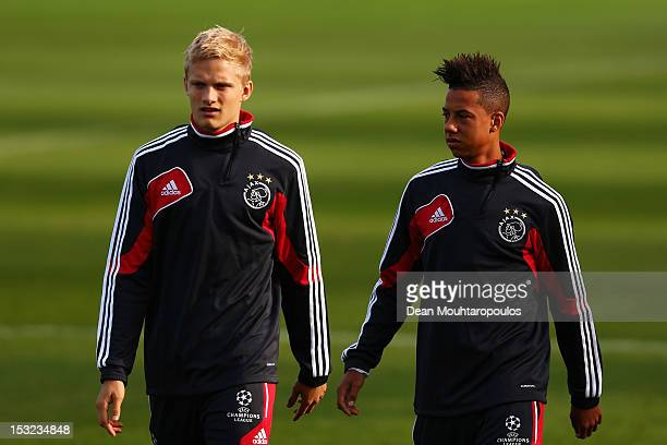 Nicolai Boilesen and Tobias Sana of Ajax look on during the Ajax Amsterdam training session at De Toekomst training ground on October 2 2012 in...