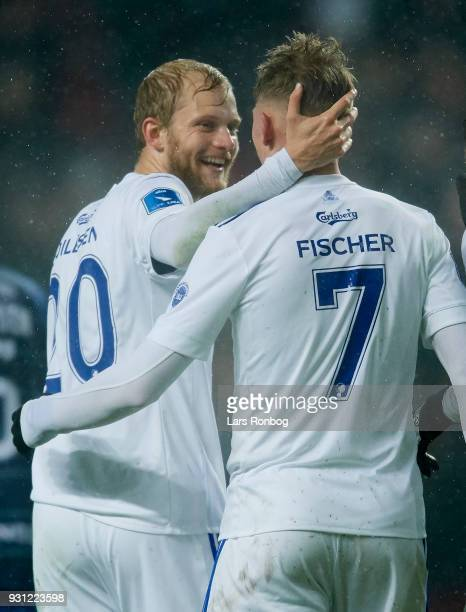 Nicolai Boilesen and Viktor Fischer of FC Copenhagen celebrate after scoring their third goal during the Danish Alka Superliga match between FC...
