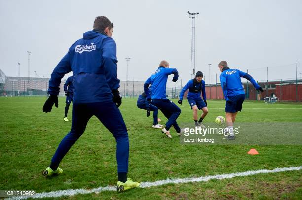 Nicolai Boilesen Andreas Bjelland and Viktor Fischer of FC Copenhagen compete for the ball during the FC Copenhagen training session at KB's baner...