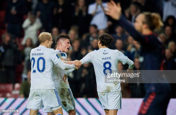 Nicolai Boilesen Benjamin Verbic and Uros Matic of FC Copenhagen celebrate after scoring their second goal during the Danish Alka Superliga match...