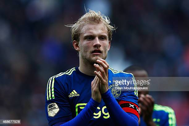 Nicolai Boilesen of Ajax applaudes the fans after the Dutch Eredivisie match between FC Utrecht and Ajax Amsterdam held at Stadion Galgenwaard on...