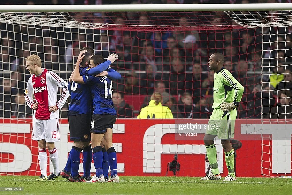 Nicolai Boilesen of Ajax, Fabio da Silva of Manchester United, Javier Hernandez of Manchester United, goalkeeper Kenneth Vermeer of Ajax during the UEFA Europa League match between AFC Ajax and Manchester United FC at the Amsterdam Arena on February 16, 2012 in Amsterdam, Netherlands.