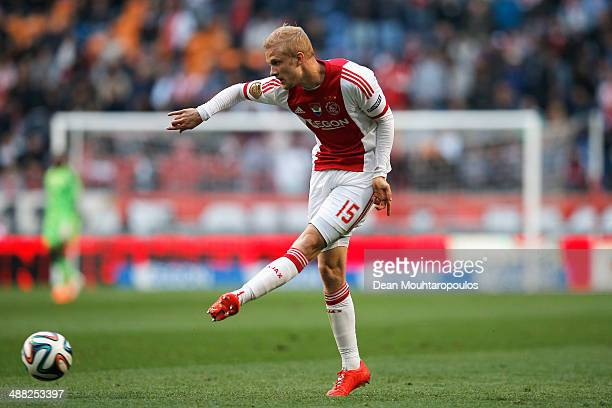Nicolai Boilesen of Ajax in action during the Eredivisie match between Ajax Amsterdam and NEC Nijmegen at Amsterdam Arena on May 3 2014 in Amsterdam...