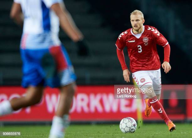 Nicolai Boilesen of Denmark controls the ball during the International friendly match between Denmark and Panama at Brondby Stadion on March 22 2018...