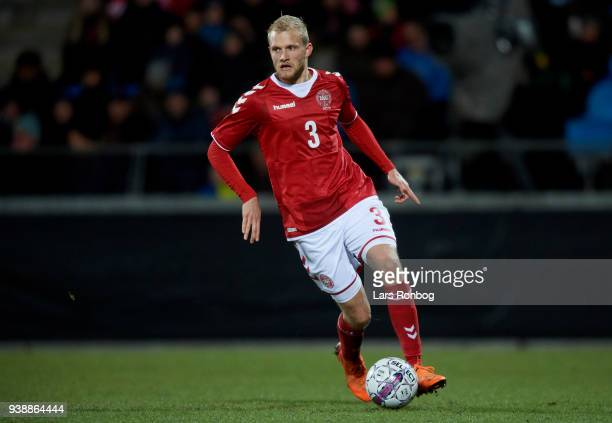 Nicolai Boilesen of Denmark controls the ball during the International friendly match between Denmark and Chile at Aalborg Stadion on March 27 2018...