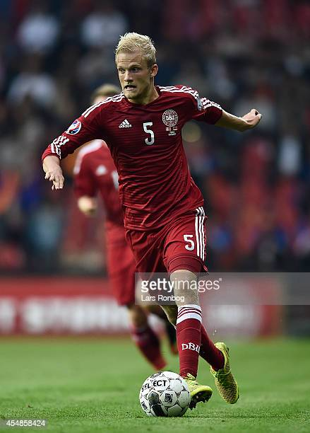 Nicolai Boilesen of Denmark controls the ball during the UEFA 2016 Group I Qualifier between Denmark and Armenia at Parken Stadium on September 7...
