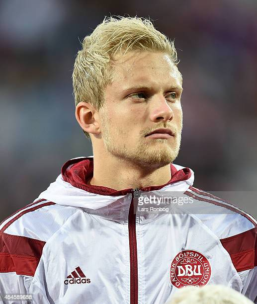 Nicolai Boilesen of Denmark looks on as the team lines up prior to the international friendly between Denmark and Turkey at TreFor Park on September...