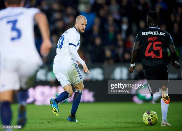 Nicolai Boilesen of FC Copenhagen and Awer Mabil of FC Midtjylland compete for the ball during the Danish Superliga match between FC Midtjylland and...