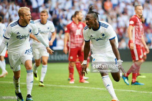 Nicolai Boilesen of FC Copenhagen and Dame N'Doye of FC Copenhagen celebrate after the 21 goal from Dame N'Doye during the UEFA Europa League...