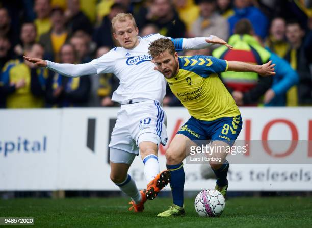 Nicolai Boilesen of FC Copenhagen and Kasper Fisker of Brondby IF compete for the ball during the Danish Alka Superliga match between Brondby IF and...