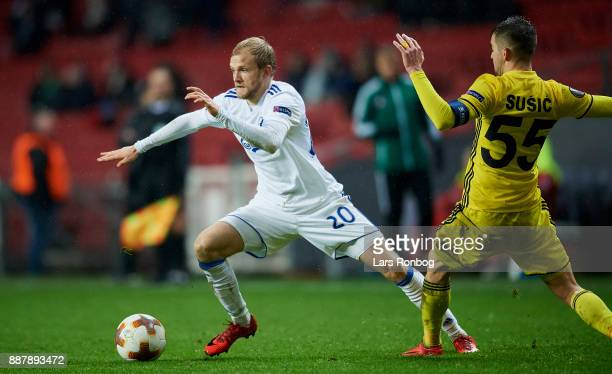 Nicolai Boilesen of FC Copenhagen and Mateo Susic of FC Sheriff compete for the ball during the UEFA Europa League match between FC Copenhagen and FC...