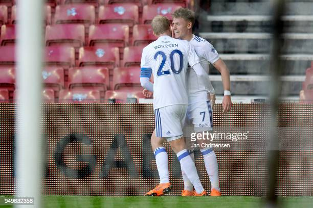 Nicolai Boilesen of FC Copenhagen and Viktor Fischer of FC Copenhagen celebrate after the 20 goal from Viktor Fischer during the Danish Alka...