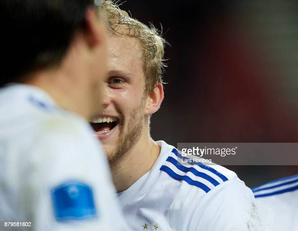 Nicolai Boilesen of FC Copenhagen celebrates after scoring their fourth goal during the Danish Alka Superliga match between FC Copenhagen and Lyngby...