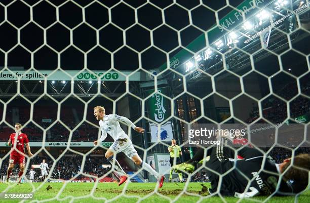 Nicolai Boilesen of FC Copenhagen celebrates after the 51 goal during goal during the Danish Alka Superliga match between FC Copenhagen and Lyngby BK...