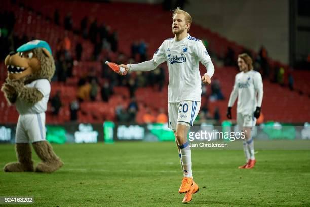Nicolai Boilesen of FC Copenhagen celebrating after the Danish Alka Superliga match between FC Copenhagen and OB Odense at Telia Parken Stadium on...