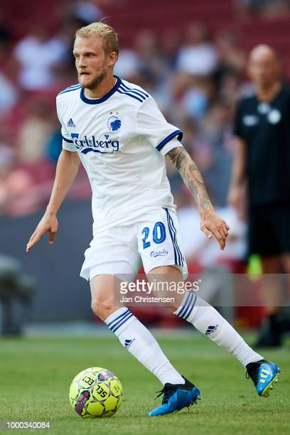 Nicolai Boilesen of FC Copenhagen controls the ball during the Danish Superliga match between FC Copenhagen and AC Horsens at Telia Parken Stadium on...
