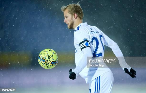 Nicolai Boilesen of FC Copenhagen controls the ball during the Danish Alka Superliga match between Hobro IK and FC Copenhagen at DS Arena on February...