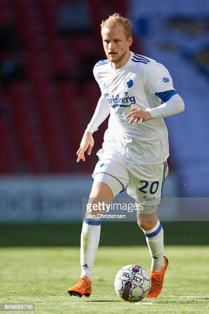 Nicolai Boilesen of FC Copenhagen controls the ball during the Danish Alka Superliga match between FC Copenhagen and AC Horsens at Telia Parken...