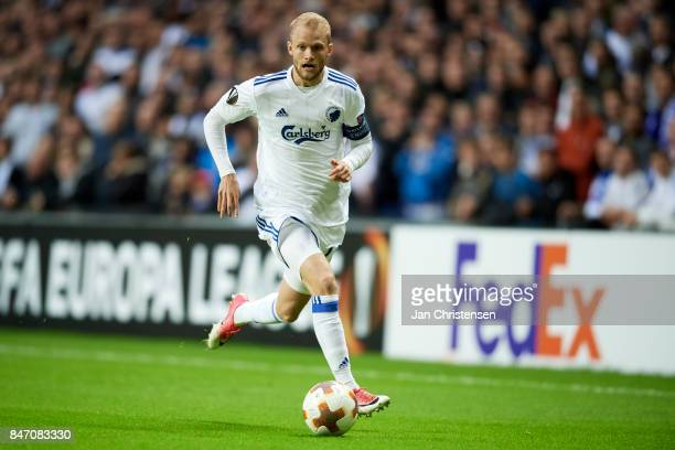Nicolai Boilesen of FC Copenhagen controls the ball during the UEFA Europa League Group Stage match between FC Copenhagen and Lokomotiv Moskva at...