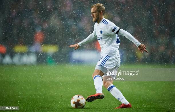 Nicolai Boilesen of FC Copenhagen controls the ball duringthe UEFA Europa League round of 32 1 leg match between FC Copenhagen and Atletico Madrid at...