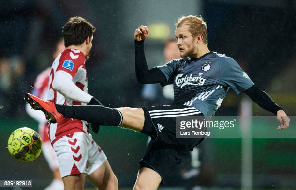 Nicolai Boilesen of FC Copenhagen in action during the Danish Alka Superliga match between AaB Aalborg and FC Copenhagen at Aalborg Portland Park on...