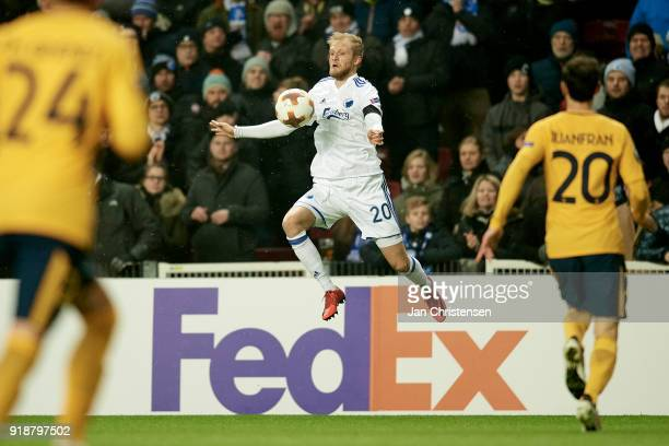 Nicolai Boilesen of FC Copenhagen in action during the UEFA Europa League match between FC Copenhagen and Atletico Madrid at Telia Parken Stadium on...
