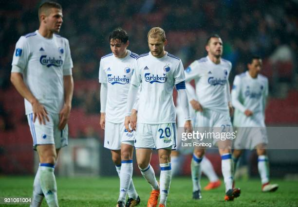 Nicolai Boilesen of FC Copenhagen looks dejected during the Danish Alka Superliga match between FC Nordsjalland and FC Midtjylland at Right to Dream...