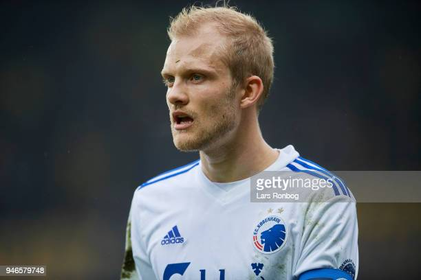Nicolai Boilesen of FC Copenhagen looks on during the Danish Alka Superliga match between Brondby IF and FC Copenhagen at Brondby Stadion on April 15...