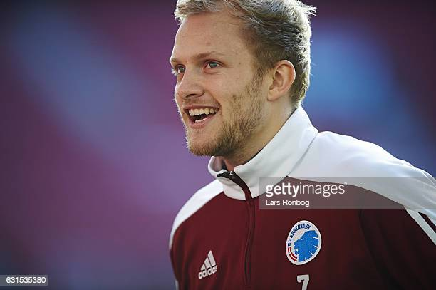 Nicolai Boilesen of FC Copenhagen speaks to the media after of FC Copenhagen the FC Copenhagen training session at Telia Parken Stadium on January 12...