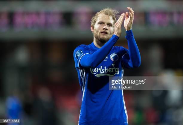 Nicolai Boilesen of FC Kobenhavn celebrates their victory after the Danish Alka Superliga match between Silkeborg IF and FC Copenhagen at Jysk Park...