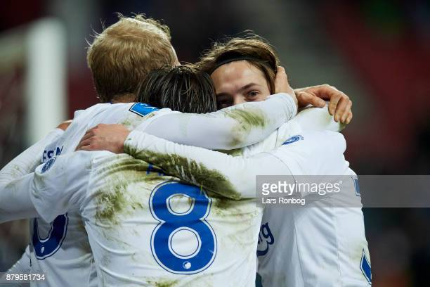 Nicolai Boilesen Uros Matic and Rasmus Falk of FC Copenhagen celebrate after scoring their fourth goal during the Danish Alka Superliga match between...