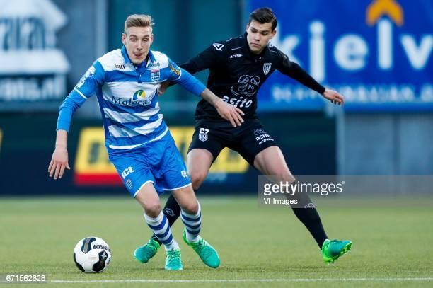 Nicolai BrockMadsen of PEC Zwolle Justin Hoogma of Heracles Almeloduring the Dutch Eredivisie match between PEC Zwolle and Heracles Almelo at the...