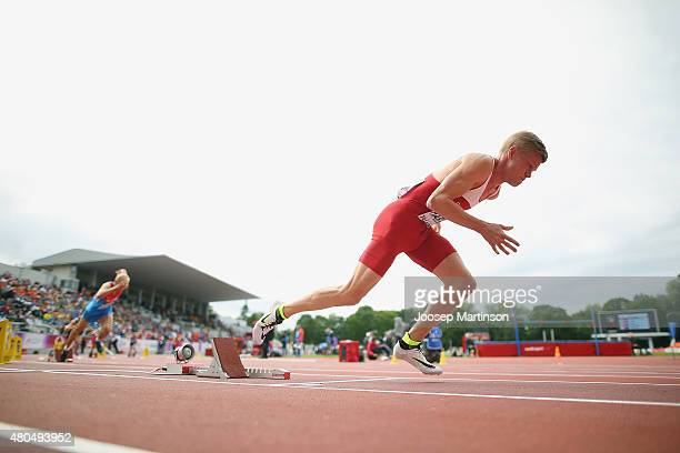 Nicolai Hartling of Denmark competes during the Men's 400m Hurdles on day four of the European Athletics U23 Championships at Kadriorg Stadium on...