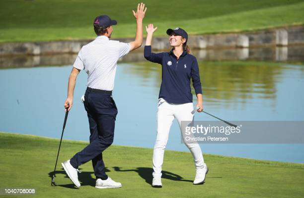Nicolai Hojgaard and Rachel Heck of Team USA during the Junior Ryder Cup GolfSixes ahead of the 2018 Ryder Cup at Le Golf National on September 26...