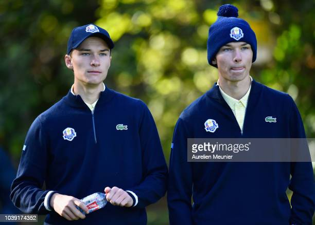 Nicolai Hojgaard and Rasmus Hojgaard of Team Europe plays a shot look on during the foursomes on day one of the 2018 Junior Ryder Cup at Disneyland...