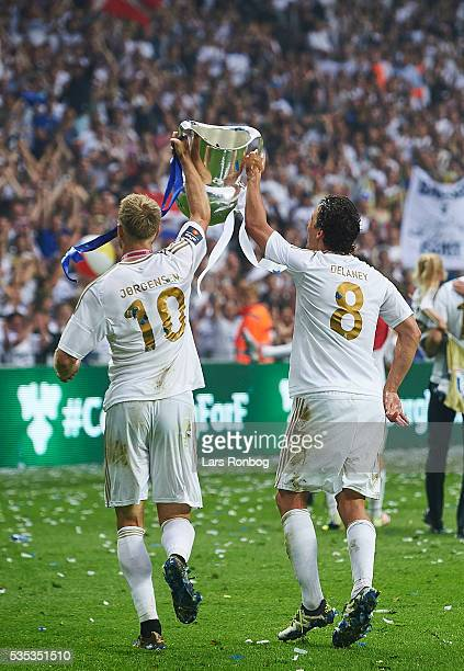 Nicolai Jorgensen and Thomas Delaney of FC Copenhagen lifts the trophy and celebrate with teammates as Danish Champions 2015/2016 after the Danish...