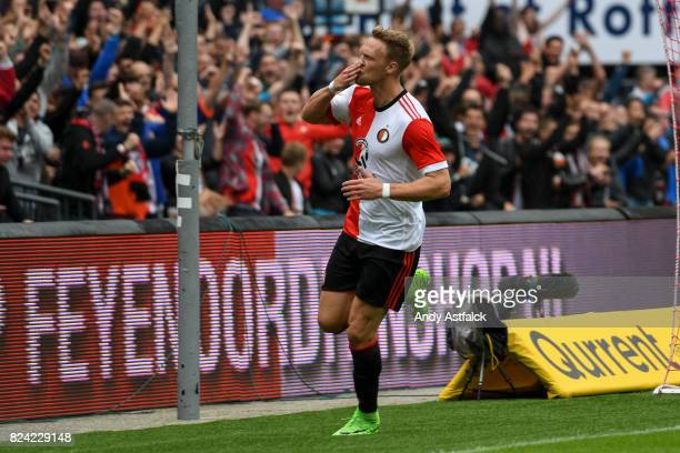 ROTTERDAM NETHERLANDS JULY Nicolai Jorgensen from Feyenoord celebrates a goal during the friendly match between Feyenoord and Real Sociedad at De...