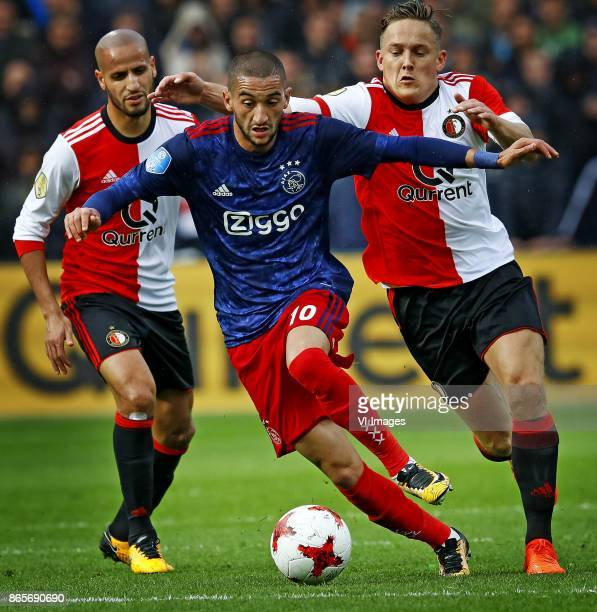 Nicolai Jorgensen Karim el Ahmadi of Feyenoord Hakim Ziyech of Ajax Jens Toornstra of Feyenoord during the Dutch Eredivisie match between Feyenoord...