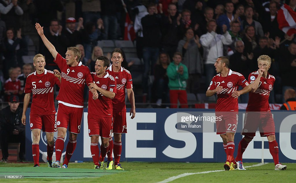 Nicolai Jorgensen (2nd R) of Denmark celebrates after scoring a goal during the UEFA European Under-21 Championship Group A match between Denmark and Belarus at the Aarhus stadium on on June 14, 2011 in Aarhus, Denmark.