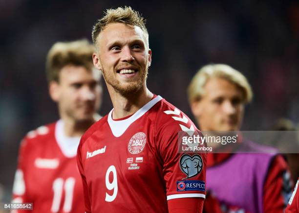 Nicolai Jorgensen of Denmark celebrates after the FIFA World Cup 2018 qualifier match between Denmark and Poland at Telia Parken Stadium on September...