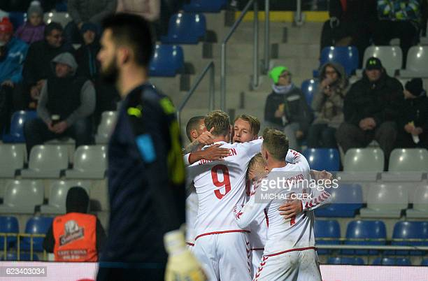 Nicolai Jorgensen of Denmark celebrates with his teammates after scoring during the friendly football match Czech Republic vs Denmark in Mlada...
