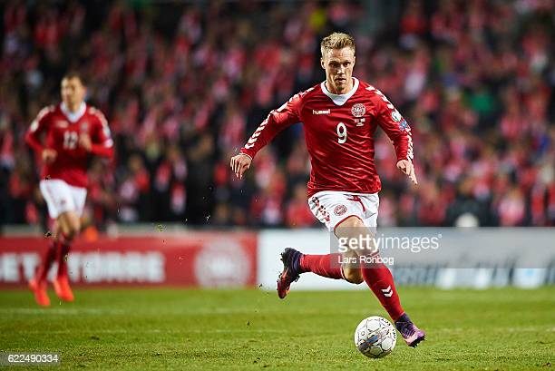 Nicolai Jorgensen of Denmark controls the ball during the FIFA 2018 World Cup Qualifier match between Denmark and Kazakhstan at Telia Parken Stadium...