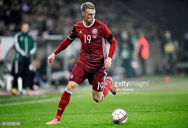 Nicolai Jorgensen of Denmark controls the ball during the international friendly match between Denmark and Iceland at MCH Arena on March 24 2016 in...