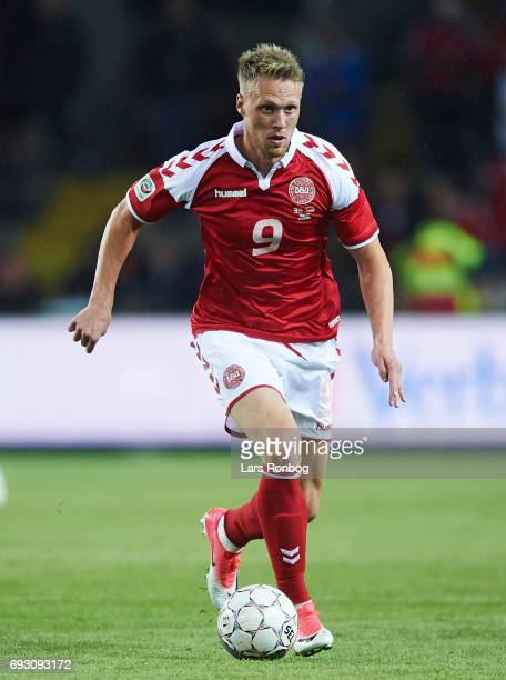 Nicolai Jorgensen of Denmark controls the ball during the international friendly match between Denmark and Germany at Brondby Stadion on June 6 2017...