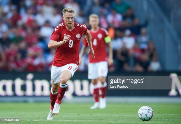 Nicolai Jorgensen of Denmark controls the ball during the international friendly match between Denmark and Mexico at Brondby Stadion on June 9 2018...
