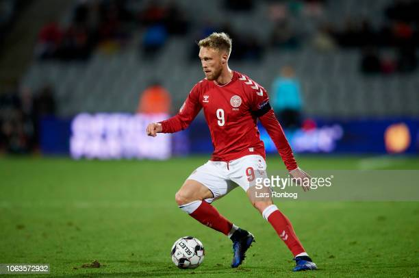 Nicolai Jorgensen of Denmark controls the ball during the UEFA Nations League match between Denmark and Ireland at Ceres Park on November 19 2018 in...