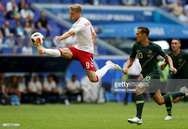 Nicolai Jorgensen of Denmark controls the ball under pressure of Trent Sainsbury of Australia during the 2018 FIFA World Cup Russia group C match...