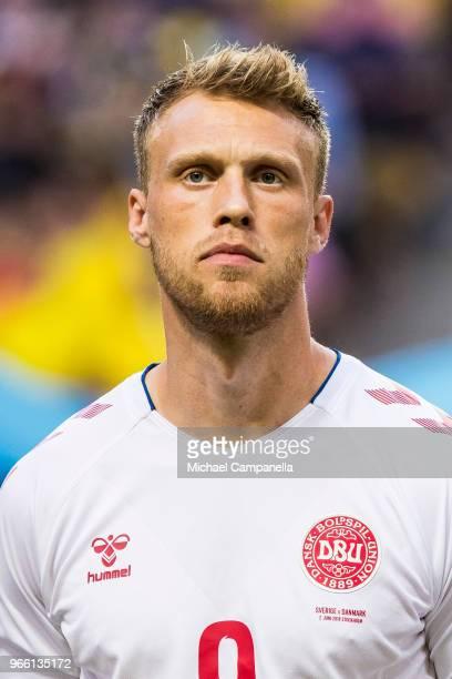 Nicolai Jorgensen of Denmark during an international friendly match between Sweden and Denmark at Friends Arean on June 2 2018 in Stockholm Sweden