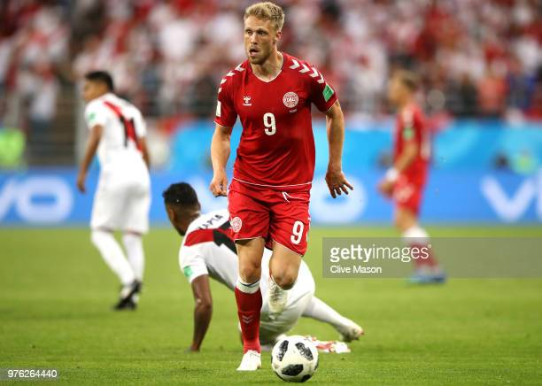 Nicolai Jorgensen of Denmark in action during the 2018 FIFA World Cup Russia group C match between Peru and Denmark at Mordovia Arena on June 16 2018...