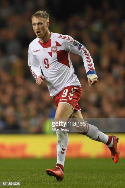 Nicolai Jorgensen of Denmark in action during the FIFA 2018 World Cup Qualifier PlayOff Second Leg between Republic of Ireland and Denmark at Aviva...